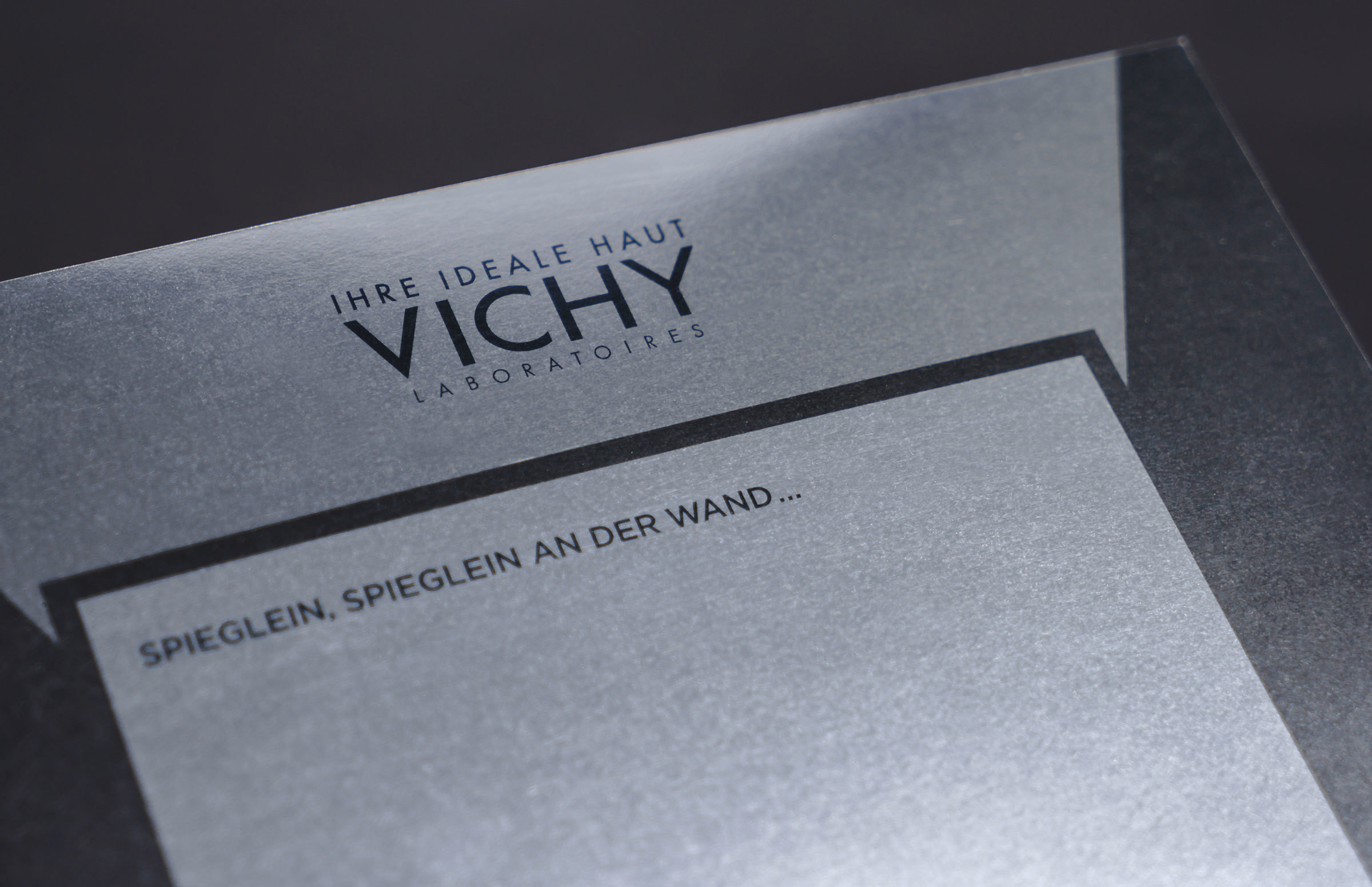 Vichy our work saentys with a mirror effect reflecting the face of each potential customer the launch was a great success and the booklet was distributed across switzerland magicingreecefo Image collections